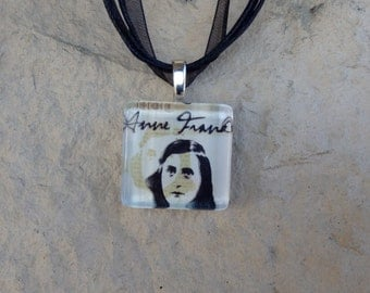 Broadway Play The Diary of Anne Frank Glass Pendant and Ribbon Necklace