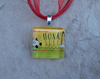 Broadway Musical Honk! Glass Pendant and Ribbon Necklace