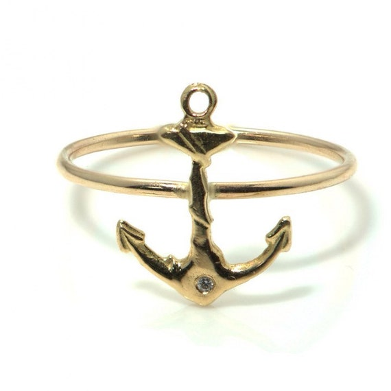 14k gold anchor ring anchor and ring nautical ring