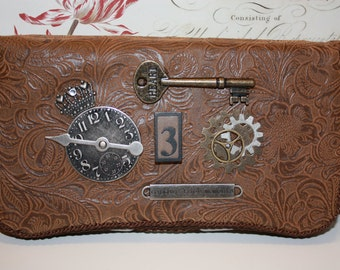 Brown Leather Like Baby Wipe Container Case Steampunk Tim Holtz Key,Clock,Wings,Crown,vintage wooden block