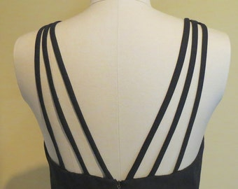 Little black dress Gothic dress Vampire clothing hourglass dress 80s goth spaghetti strap dress