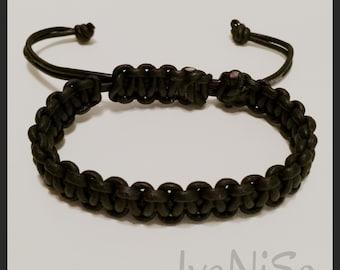 men's leather bracelet . macrame hadmade bracelet. men's black bracelet. handcrafted bracelet. black leather.