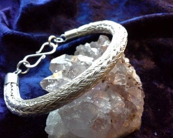 Fine Silver Viking Knit Bracelet handmade in Scotland