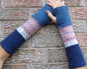 Wool fingerless gloves, Upcycled arm warmers, Commuter gloves recycled from blue and pink sweaters