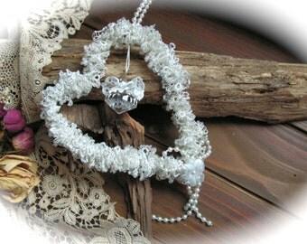 Shabby Chic Wedding Decor, Bided Heart , Rustic Wedding Decor.