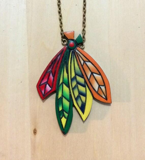 chicago blackhawks feather holz pendant necklace free shipping