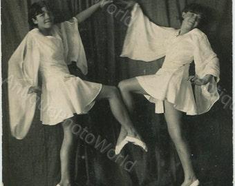 Cute girls ballet dancers antique photo