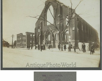 Chelsea Massachusetts destroyed church fire aftermath antique photo 1908