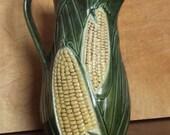 Vintage Corn Pitcher Ceramic Retro Farm Table
