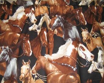 "HORSES Curtain Valance 41"" x 15"" in 100% Cotton - Handmade New."