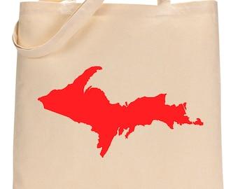 Michigan Upper Peninsula Canvas Tote Bag.  Michigan Silhouette.