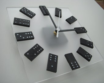 Dominoes on clear frosted acrylic square wall clock