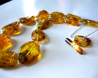 Baltic Amber , Sterling Silver Necklace .Baltic Amber Jewelry.