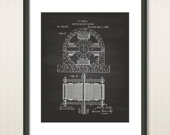 Nikola Tesla 1888 Patent Art Illustration - Drawing - Printable INSTANT DOWNLOAD - Get 5 colors background