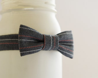 Dark gray herringbone bow tie, pinstripe bow tie for boy, toddler photo prop bow tie, toddler boy bow tie, kids bow tie - made to order