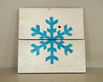 Turquoise Snowflake Pallet Art