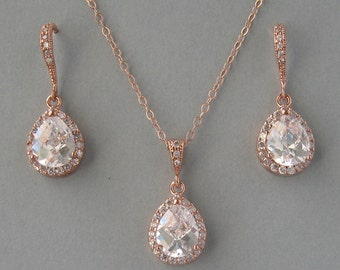 Cubic Zirconia,Rose Gold Filled Chain,Rose Gold Plated Necklace & Earrings Set, Bridal Necklace,Earrings,Rose Gold Set,Bridesmaid Gift-DK570