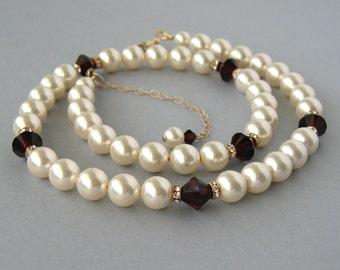 Genuine Swarovski, Swarovski Necklace,Ivory Pearls, Garnet Crystals, Rhinestone,Gold Filled Necklace, Bridesmaid Gift,Wedding Jewelry -DK130