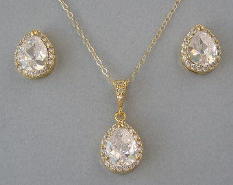 Cubic Zirconia, Gold Filled Chain, Gold Plated, Necklace & Earrings Set, Bridal Necklace, Bridal  Stud Earrings, Bridesmaid Gift -DK625