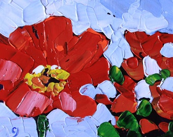 Red flowers 6x6 Floral painting small original acrylic on panel palette knife green blue impressionist still life fine art by Cristina Jacó