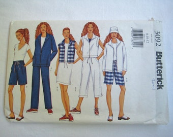 Butterick Sewing Pattern 3092 Jacket Vest Shorts Drawstring Pants Skirt Loose Fit Casual Misses Size 8 10 12 UNCUT