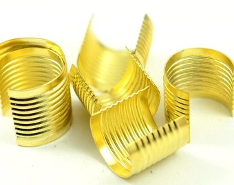 100 Pieces Gold Color 17x18 Large Fold Over Crimp Head Connectors , Findings Cord