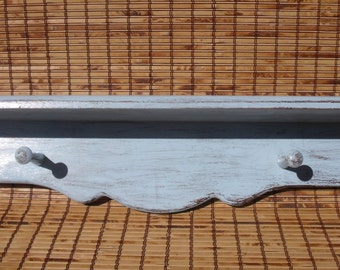 Wall Shelf with Pegs, Hanging Rack, Blue Decor, Rustic Decor, Primitive Home, Blue Baby Room Decor