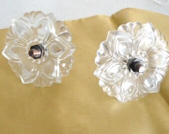 Vintage Glass Flower Curtain Tie Backs / Swag Window Wrap Holders 1970 Home Decor