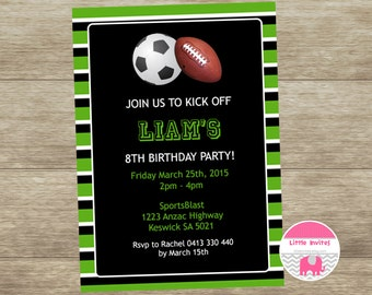 Soccer birthday invitation/Football birthday invitation/Sports birthday invitation/Printable/End of Season/Boys soccer invitation-Liam