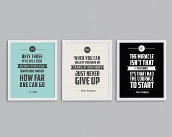 Half Marathon Gift Set of 3 Retro Inspirational Running Quote Art Prints