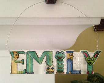 Personalized Name Baby Child Christmas Cross Stitch Ornament Nameplate - Emily