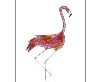 Catchii illustration, with originally hand-painted illustration of flamingo head aside