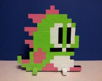 """Bubble Bobble Bub Wooden Pixel Sprite Standee 8""""x8"""" Nintendo Taito 8bit"""
