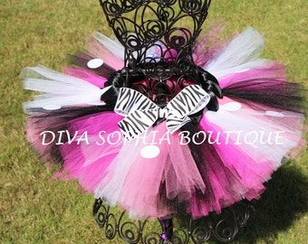 Minnie Mouse Zebra Tutu - Birthday Tutu