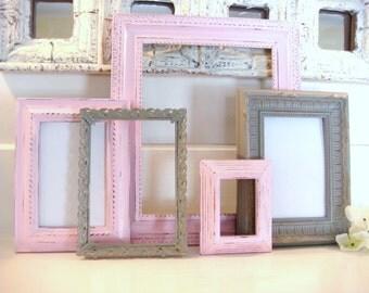 Pink and grey frames, frame grouping, frame collection, nursery decor, 5 frame set, shabby chic frame
