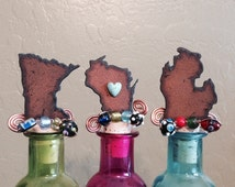 MINNESOTA WISCONSIN or MICHIGAN Rusty Rustic Rusted Metal Decorative Wine Bottle Cork Stopper Topper
