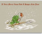 FOUR Christmas Cards, Babar The Elephant Father Christmas,Holiday, New year greeting, Card set of 4+ 1 inside page (DIGITAL)