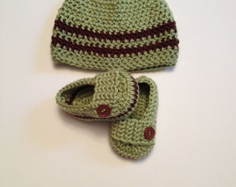 Crochet Baby Hat, Baby Booties, 0 to 3 Months