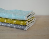 Organic Burp Cloths Set of 3 in Circles - Gray, Blue, and Reed