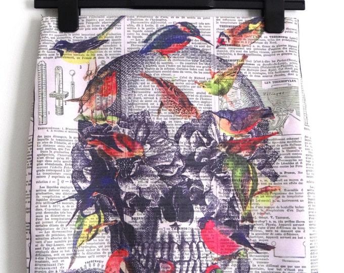 Science Skull And Birds Skirt - Size 12 14 - Mini Digital Print Retro Bodycon Wiggle 1950s Pin up Geek Chic Newspaper Anatomical Anatomy