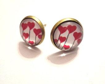 Earrings little red hearts Love