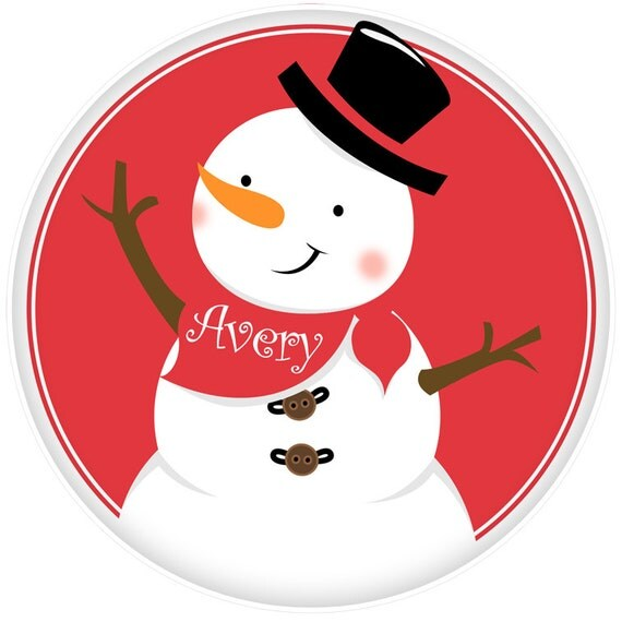 Personalized Kids Holiday Dinnerware - Christmas Snowman Cookies Plate - Your Choice of Plate, Bowl or Set