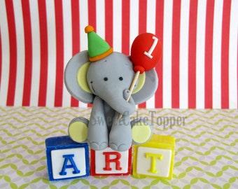 "2.5"" Elephant Circus  Safari Animal Fondant Cake Topper  with name blocks - 1 Set"
