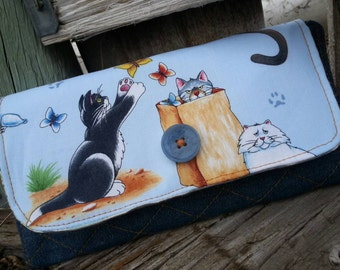 Cat Wallet, Handmade Ladies  Billfold