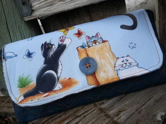 Cat Wallet, Handmade Ladies  Billfold