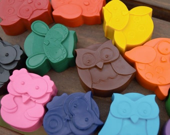 Owl Crayons set of 48 - Owl Party Favors
