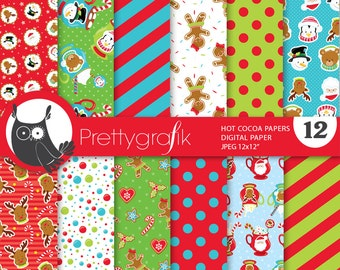 80% 0FF SALE Christmas hot chocolate digital paper, commercial use, scrapbook papers, background chevron, christmas - PS666
