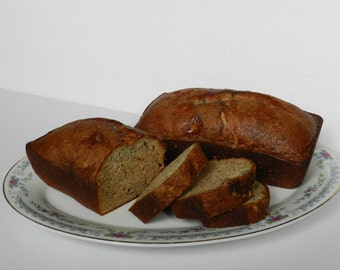 Banana Bread, 2 loaves, Homestyle, Classic Comfort Food, Made to Order, with or without nuts