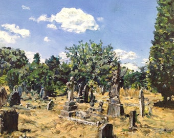 Southampton Old Cemetery - A small original oil landscape painting on canvas