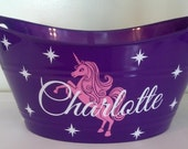 Personalized Basket, Oval Easter Tub with A Unicorn, Great for Small Toy Storage, Birthday Parties